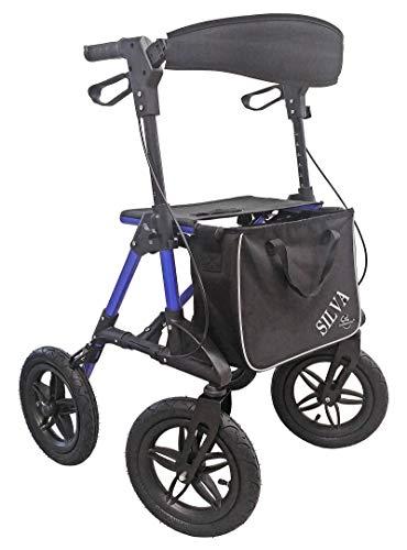 Rollator OFFROAD Leichtgewicht mit Tasche und Steighilfe blau TM