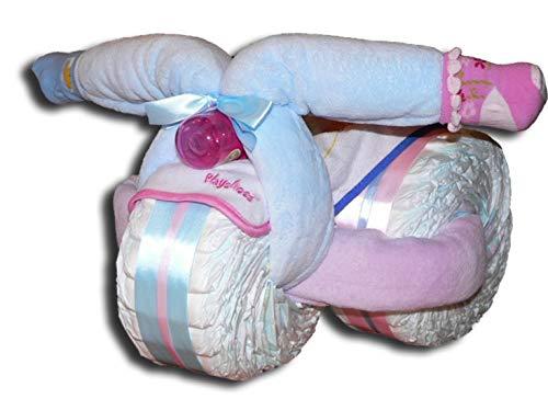 Tarta de pañales mágica – Triciclo de pañales para chicos, niñas o neutrales, regalo para bebés, baby shower, bautismo, nacimiento, regalo