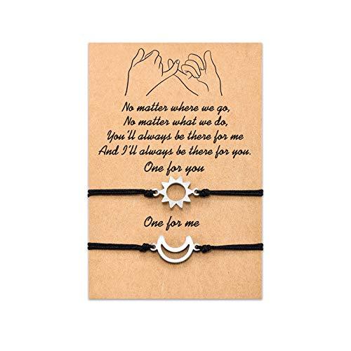 Tarsus Moon Sun Bracelets Set for 2 Women Men Bestfriend Best Friend Friendship Couple Girlfrend Boyfriend His Her