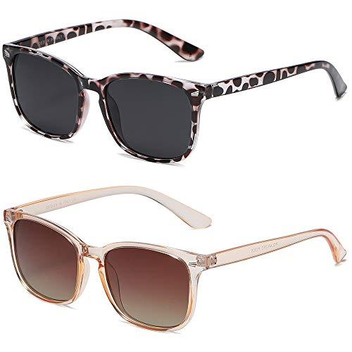DUSHINE Gafas de sol polarizadas para mujer, estilo retro, 100% protección UV.