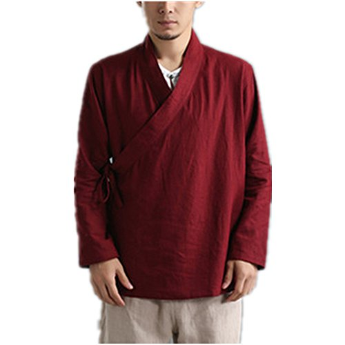 Kung Fu Jacket Tai Chi Uniform Men's Chinese Traditional Martial Arts Clothing Wing Chun Training Suit Top Chinese Tang Suit Buttonless Shirt 100% Linen (XL, Red)