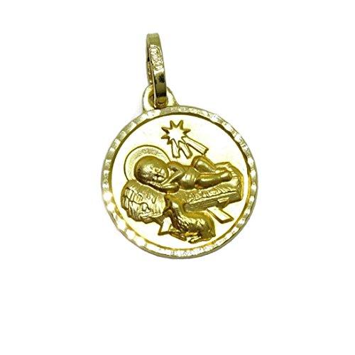 Never Say Never Medalla para bebé Niño Jesús en pajasde Oro Amarillo de 18Ktes.13mm