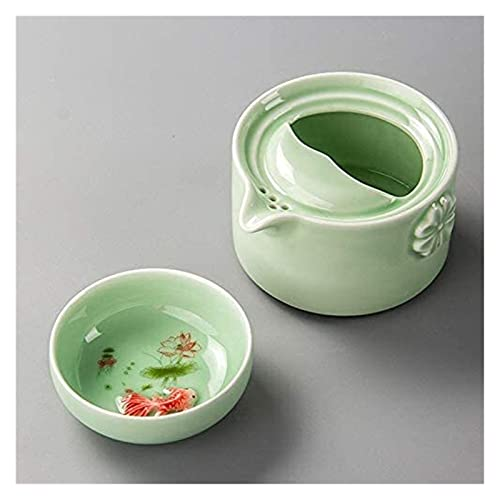 QJTZ Green Ceramic Carpa Gaiwan Tea Set Celadon Elegante Kung Fu Teaset Incluye 1 Pot 1 Taza, Hermosa Tetera de Tetera fácil 0422 (Size : B)