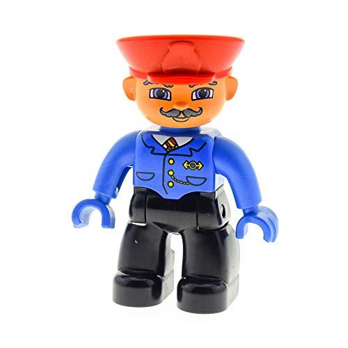 1 x Lego Duplo Figur Mann Hose schwarz Jacke blau Schnurrbart Mütze Hut rot Uniform Hände blau Lokführer Schaffner Zug Eisenbahn 47394pb038