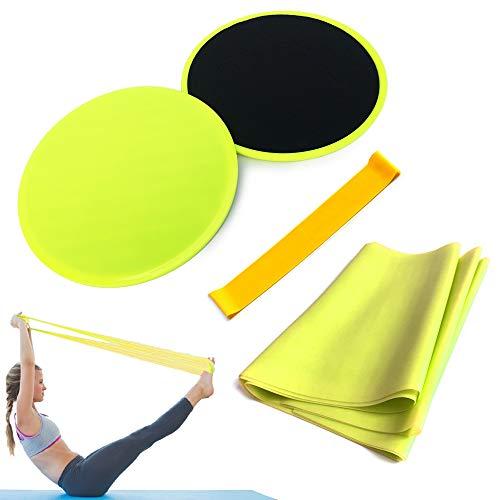 Andoer Conjunto de 4 unidades de equipamentos de ioga para discos deslizantes de núcleo Resistance Loop Band Exercício de látex Strap Perfect Abdominal Core Training Gym Pilates Rehab Kit