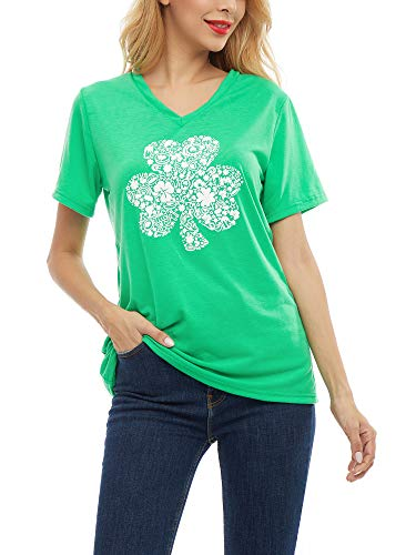 SATINIOR Women St. Patricks Shirt Printed Glitter Clover Green Shamrock T-Shirts Top (Large)