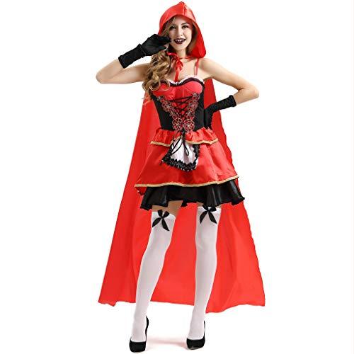 Disfraz de cuento de hadas de Halloween para mujer, diseño sexy y vintage, color rojo, Primavera-Verano, camisa, Manga larga, Hombre, color rojo, tamaño M