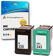 Printing Pleasure Set 2 Compatibles HP 338 & HP 343 Cartuchos de Tinta para HP Photosmart, Deskjet, Officejet & PSC Impresoras