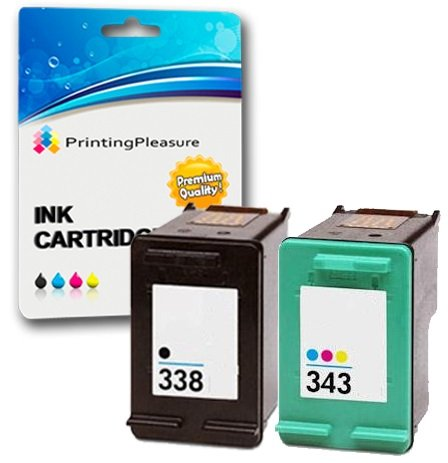 Printing Pleasure 2 Druckerpatronen für HP OfficeJet 100 150 Mobile 6210 7310 H470 K7100 PSC 1610 2355 DeskJet 460c 5740 Photosmart 8150 C3180 | kompatibel zu HP 338 (C8765EE) & HP 343 (C8766EE)