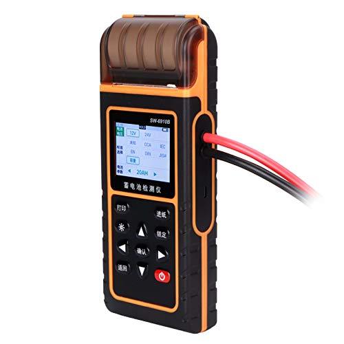 Atyhao Probador de Carga de batería de Coche Analizador de batería de Coche 12V 24V Probador de Carga de batería de Coche Digital Analizador de baterías de automóvil Detector con Impresora