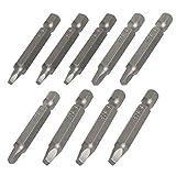 LAITER 9 piezas Puntas de destornillador de cabeza cuadrada magnéticas 1/4 ″ Varilla de vástago hexagonal Broca SQ1 SQ2 SQ3 Destornillador Destornillador 50 mm de largo Acero al carbono S2