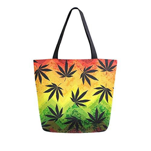 RXYY - Bolsa de lona geométrica con hojas de marihuana para mujer, resistente, grande, casual, bolsa de hombro, reutilizable, para compras, para viajes al aire libre