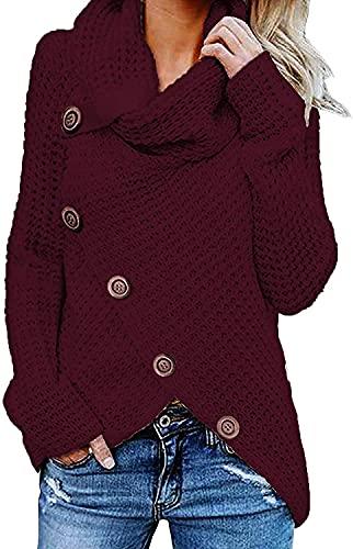 Tekaopuer Suéter de punto de cuello alto para mujer, suéter suelto asimétrico grueso, color sólido, sudadera con botón grueso, Un vino tinto, M