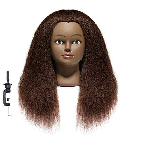 African American Mannequin Head 20'-22' Real Hair Manikin Head Hairdresser Cosmetology Doll Head for Styling Dye Cutting Braiding Practice with Clamp Brown Real Hair