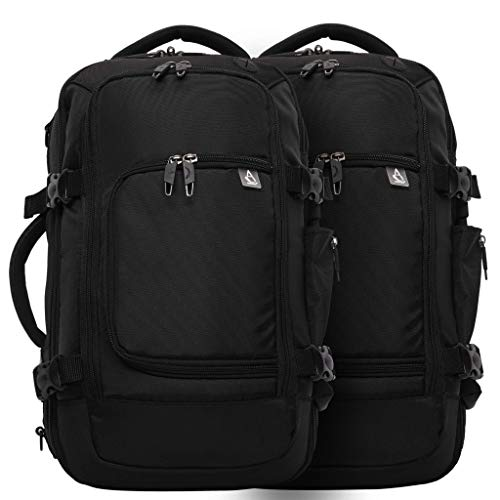Aerolite Ryanair Maximum Size 40x20x25cm Hand Cabin Luggage Approved Travel Carry On Holdall Shoulder Bag Backpack Rucksack Flight Bag with YKK Zippers, 40x25x20, Black (Black x 2)