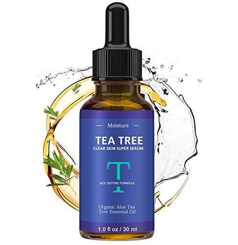 Tea Tree Oil Clear Skin Face Serum Acne Treatment Promote Collagen Generation Repair Damaged Skin Restore Hydration Brightness Lighten Spots Minimizes Pores Fine Lines Enhances Cuticles