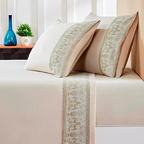 Unknown1 Sales Time sale Jacquard Flat Sheets Queen Sandstone Cotto White Floral