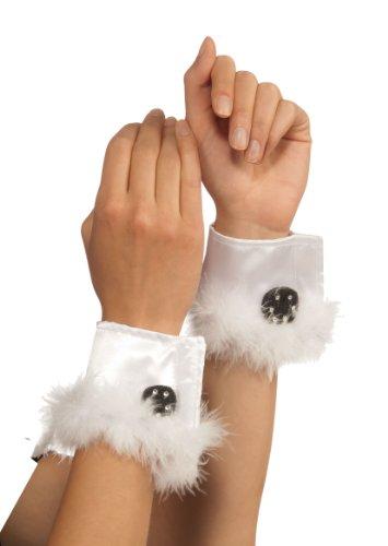 Rubie's Costume Bunny Cuffs With Marabou Trim, White, One Size