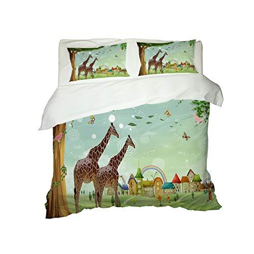 PERFECTPOT Duvet Cover Set Double Size Cartoon Paradise Giraffe Pattern 3 pcs with Zipper Closure Microfiber Bedsure Printed Duvet Cover Quilt Bedding Set with 2 Pillowcases, 200 x 200 cm