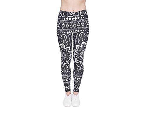 Hanessa Frauen Leggins Bedruckte Leggings Geschenk zu Weihnachten Hose Frühling Sommer Kleidung Schwarz weißes Mandala Muster L204