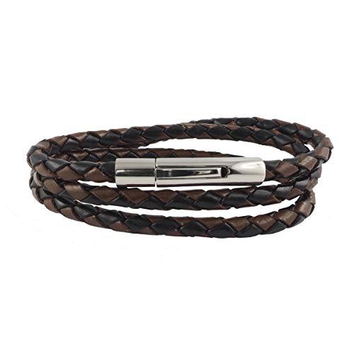 König Design Lederkette Lederband Leder-Armband 4 mm Herren Halskette Schwarz Braun 50 cm lang mit Hebeldruck-Verschluss Silber geflochten