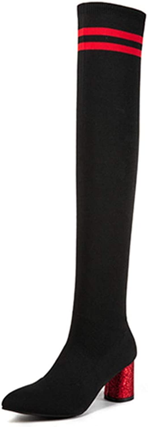 Hoxekle Winter Stretch Fabric Women Over The Knee Boots Square Heels Slip On for Female Socks Fashion Stiletto Boots