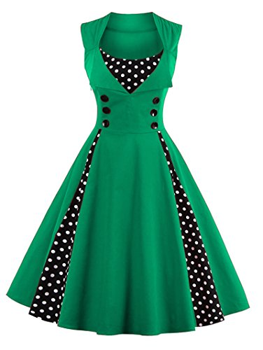 VERNASSA 50s Vestidos Vintage,Mujeres 1950s Vintage A-Line Rockabilly Clásico Verano Dress for Evening Party Cocktail, Multicolor, S-Plus Size 4XL