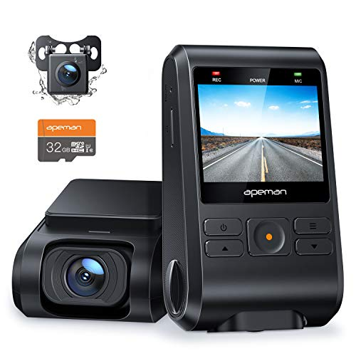 Price comparison product image APEMAN Dash Cam,  Front and Rear Camera for Cars 1080P,  SD Card Included,  Support GPS,  IPS Screen,  Night Vision,  170°Wide Angle,  Motion Detection,  Loop Recording,  G-Sensor,  Parking Monitor,  WDR