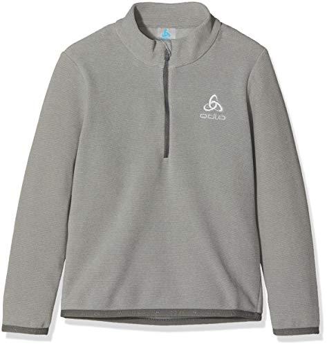 Odlo Kinder Midlayer 1/2 Zip Royale Kids Pullover, Platinum Grey Steel Grey-Stripes, 116