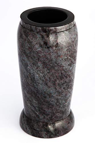 Afterglow Stilvolle Grabvase aus echtem Granit Orion dunkel Höhe 20 cm/Ø 10 cm Grabschmuck wetterfest frostsicher Granitvase mit Kunststoffeinsatz Friedhofsvase