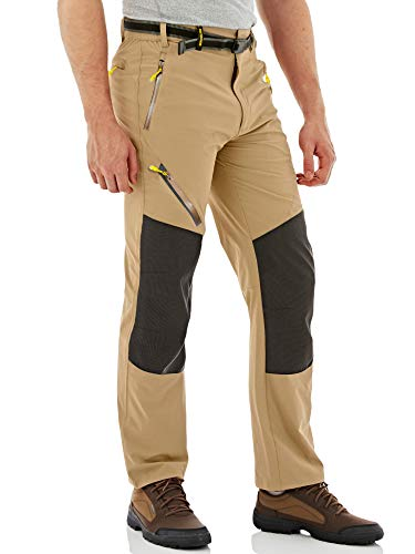 MAGCOMSEN Pantalones de trekking para hombre, ligeros, finos, de secado rápido, para primavera, para exteriores, impermeables, funcionales, largos, de caza, con bolsillos, caqui, 40
