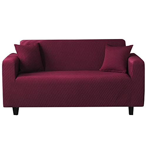 High Stretch Sofa Slipcover,Jacquard Couch Sofa Cover, Living Room/Bedroom Sofa slipcover, Furniture Decoration Covers, Soft Sofa Shield-Wine_Red_4_Seater(235-300CM)