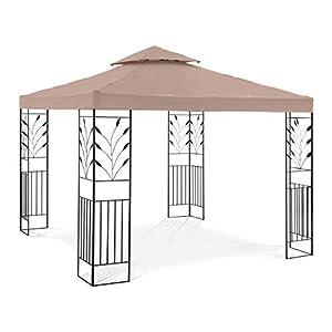Uniprodo Pérgola De Metal Pabellón para Jardín Uni_PERGOLA_3X3T_U (Dimensiones: 3 x 3 m, Altura Total: 2,60 m, 180 g/m², Beige)