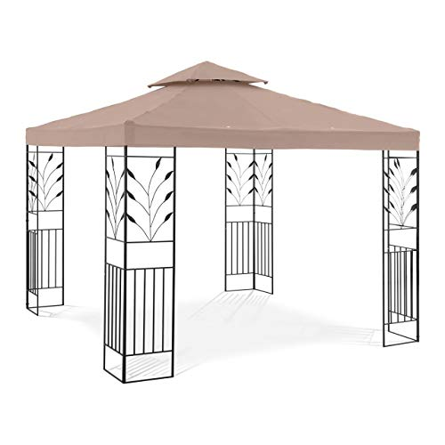Uniprodo Garden Pavilion Outdoor Metal Gazebo Pergola Party Tent Vine Motif 3x3m Beige UNI_PERGOLA_3X3T_U (Powder-Coated Iron, Polyester 180 g/m2, UV Protection)
