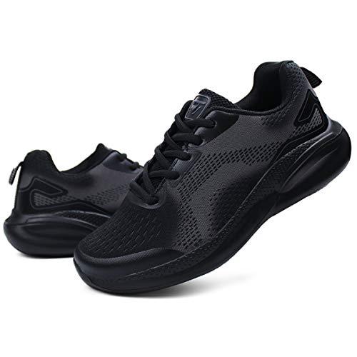 JABASIC Women Athletic Tennis Running Shoes Lightweight Sport Walking Sneakers(9,Black/Grey)