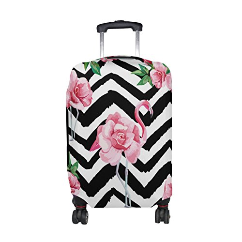 Cooper girl Flamingo And Flowers Stripe Travel Luggage Cover Suitcase Protector Fits 23-26 Inch