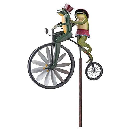 Frogs on A Vintage Bicycle Metal Garden Cute Animal on Bike Spinner,Motorcycle Wind Spinner,Frog Cute Animal Spinner Sculpture