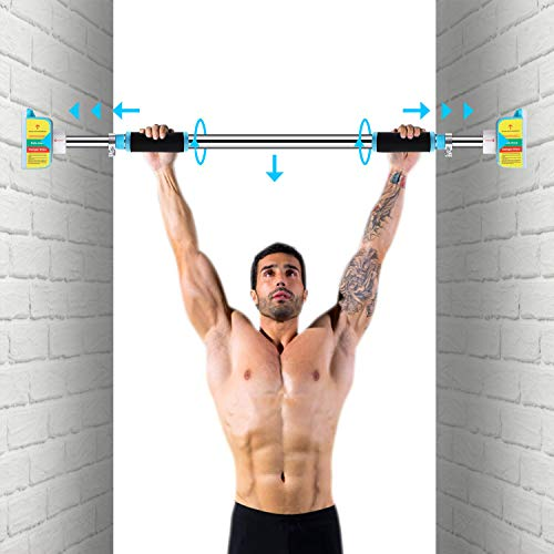 Pull Up Bars for Doorway No Screws Chin Up Bar with Locking Mechanism, Adjustable Width Exercise Bar Heavy Duty Upper Body Workout Bar for Home Gym Exercise Fitness