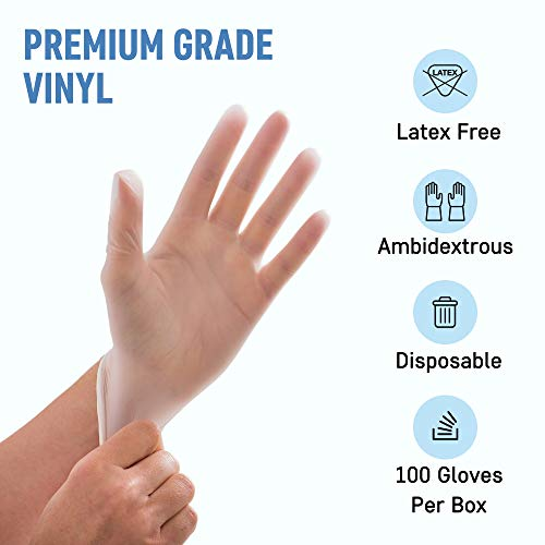 Powder Free Disposable Gloves Large -100 Pack -Clear Vinyl Medical Exam Gloves