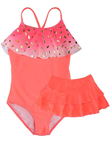 LEINASEN Girls One Piece Swimsuits with Skirt, Crossback with Flounce Swim Skirt Bathing Suit for Kids
