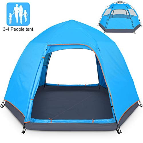 BATTOP 4 Person Tent for Camping Double Layer Family Camping Tent for 4 Seasons Waterproof with Instant Setup