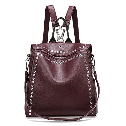 Fashion Backpack JOSEKO Casual Rucksack with Rivet Leather Daypack Shoulder Bag for Women Red Wine 10.6'x5.1'x10.6'
