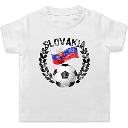 Sport Baby - Slovakia Flagge & Fußball Vintage - 6/12 Monate - Weiß - T-Shirt - BZ02 - Baby T-Shirt Kurzarm