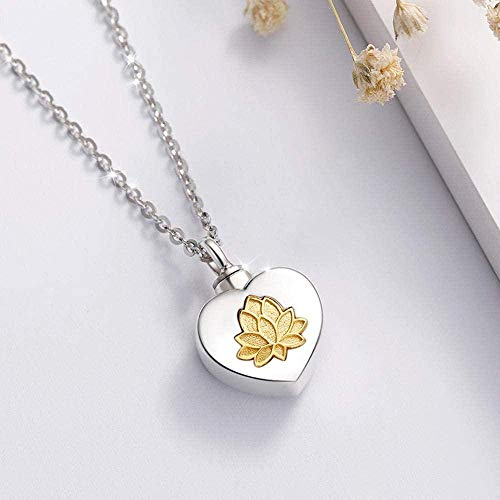 NC56 Lotus Flower Keepsake Heart Locket Necklace Pendant Memorial Urn Jewelry For Cremation Ashes Of Loved