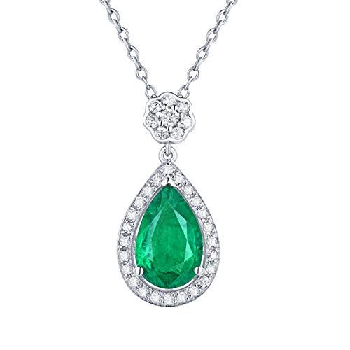 ANAZOZ Colgantes Mujer Esmeralda,Collares Oro Blanco 18K Mujer Plata Verde Flor con Gota de Agua Esmeralda Verde 1.23ct Diamante 0.27ct