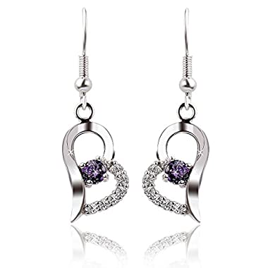 Sealike Heart Shape Purple Rhinestone 925 Sterling Silver Earrings Studs Eardrop Hoop for Women Girls with Stylus