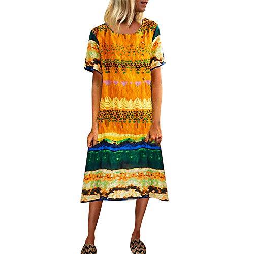 TWIFER Boho Sommerkleid Damen Vintage Kleid O-Ausschnitt Strandkleider Kurzarm T-Shirt Kleid Freizeitkleid Casual Pyjama Kleid