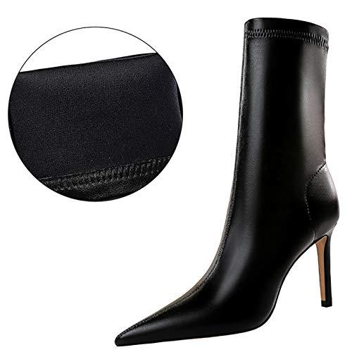 Bota De Fiesta Sexis para Mujer Moda Botines De Tacón Alto Zapatos para Mujer Black B-37