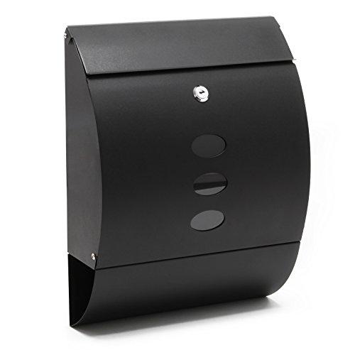 Buzón Diseño Moderno V18 Cartas Correo Postal Negro Compartimiento Periódico