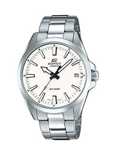 Casio EDIFICE Reloj en caja sólida, 10 BAR, Blanco, para Hombre, con Correa de Acero inoxidable, EFV-100D-7AVUEF